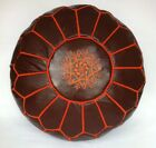 100% Leather Handcrafted Moroccan Pouffe Dark Tan with Orange embroidery
