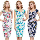 Ladies 40's 50's Vintage Retro Style Floral Wiggle Jive Evening Dress SIZE 4-18
