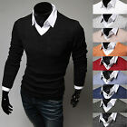 Mens See Through Thin Slim Fit V-Neck Basic Knit Sweater Jumper Jacket Top - S/M