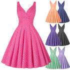Womens Polka Dot 50s Vintage Retro Deep V Neck Plus Size Swing Pinup Party Dress