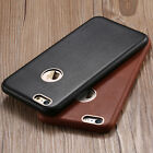 Floveme Genuine Real Leather Metal Logo Hole Back Cover Case For iphone 6/6 Plus
