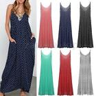 Plus US 4-22W Zanzea Polka Dot Sleeveless Evening Party Long Maxi Dress Sundress