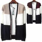 New Mens V-Neck Coloration Knit Cardigan Sweater Button Jumper Blazer Top W038