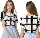 Fashion Women Summer Plaid Short Sleeve Casual Blouse Chiffon T-Shirt Tops