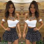 2 PCS Sexy Women's Summer Blouse Crop Top Vest + Short Mini Dress Skirt Suit Set