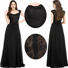 Long Lace Black Formal Party  Wedding Cocktail Pageant Ball Gown Prom Dress 6`20