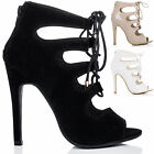 Womens Lace Up High Heel Stiletto Sandals Shoes Sz 3-8