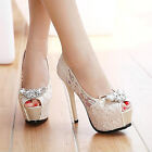 Princess Lace High Heels Party Queen Weave Hollow Wedding Shoes