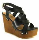 New Ladies/Womens Black Krush Sienna Strappy Wedges Sandals. UK SIZES