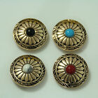 【KB307】10pc 1-1/8'' Wild Hearts Conchos Turquoise Stone Concho Leathercraft Gold