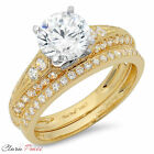 2.32 CT Round Cut Simulated Engagement Bridal Ring band set Multi 925 Silver