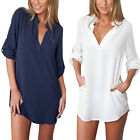UK8-14 Womens Long Sleeve V-Neck Oversize Loose Chiffon T Shirt Top Blouse Dress