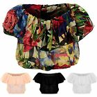 Womens Plain Floral Bardot Off Shoulder Semi Sheer Frill Gathered Cropped Top