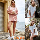 New Lady Summer Loose Long T-shirt Short Sleeve Casual Tops Blouse Beach Tee Top