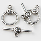 5/10Sets Carve Smooth Ring Tibetan Silver Toggle Clasps Hooks DIY 22*16+27*4mm