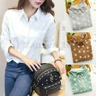 UK New Womens Floral Casual Collared Shirt Ladies Long Sleeve Blouse Fashion Top