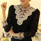Size 6-16 Sexy Womens Ladies Floral Lace Long Sleeve Loose T-Shirt Blouse Tops