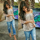 Womens Sequined Bling Shiny Tank Top Casual Loose Shirt Off The Shoulder Blouse