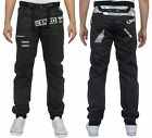 MENS BRAND NEW JEANS EZ343 CUFFED JOGGERS IN BLACK COLOUR ALL SIZES 28 TO 42