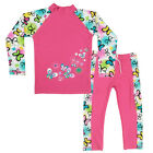 2PCS Girls Sun Protection Swimsuit Kids Tops+Pants Floral Surfing Swimwear 3-10Y