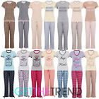 Ladies Womens Printed Cotton T-Shirt Lounge Pyjama Set Bottoms Nightwear