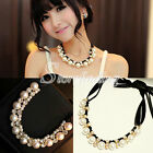 1PC Elegant Pearl Bubble Ribbon Bib Statement Necklace Chunky Collar Party 26cm