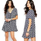 Womens Sexy V Neck Retro Floral Casual Party Cocktail Summer Short Mini Dress