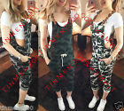 Womens Ladies Dungaree Camo Loungewear Camouflage Jumpsuit 3/4 Pants