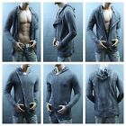 Men Long T-Shirt Casual Jacket Extended Zipper Slim Fit Top Hoodie Coat Charcoal