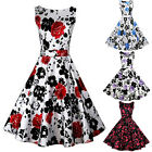 Women Vintage 1950's Floral Spring Hepburn Style Garden Party Dress New
