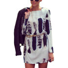 Cat Tail Print Vestido Long Sleeve Open Deep V Backless Short Mini Dress 2016