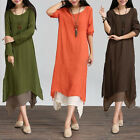 Women Cotton Linen Vintage Dress Casual Loose Boho Long Maxi Dresses Plus Size