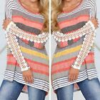 Women Casual Stripe Floral Lace Long Sleeve T-Shirt Sexy Loose Blouse Top Beauty