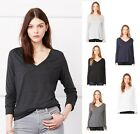 B8855 Bella+Canvas Women's Flowy V-Neck Long Sleeve Tee T-Shirt S-2XL New!!