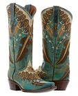 Womens western leather turquoise cowgirl cowboy boots wings feathers rodeo snip