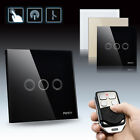 3 Gang 1 Touch Switch Luxury Remote Toughened Glass Crystal Polished Panel Decor
