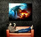 D7592 Dragon Fantasy Fire Knight Art Gigantic Print POSTER