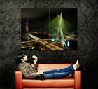 D6220 Oct?vio Frias de Oliveira Bridge S?o Paulo Brazil Night Print POSTER