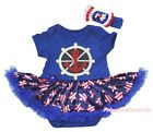 Sailor Anchor Ship Wheel Blue Bodysuit Pink White Star Girls Baby Dress NB-18M