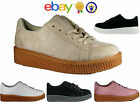 WOMENS LADIES CHUNKY SUEDE PLATFORM TRAINERS RUNNING CREEPERS SPORTS SHOES SIZES