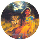 Ceramic Decals Native American Indian Maiden with Wolf Scene image