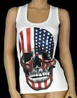 Ladies Cotton Vest Tops USA Flag Skull Design Womens Sizes S/M M/L (UK 6-8 8-10)