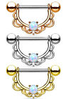 PAIR Opal Center Filigree Drop Nipple Shields Rings Body Jewelry 14g or 16g