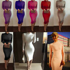 Women Ladies Turtle Polo Neck Long Sleeve Stretch Bodycon Party Sexy Midi Dress