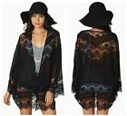 Fashion Women Black Hollow Lace Spliced Chiffon Kimono Blouse Cardigan Coat - LD