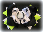 Neon Black Happy White Ghost Halloween Hair Bows Boutique Girls Scary Hairbow