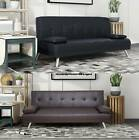 Faux Leather Chunky Sofa Bed recliner 3 Seater Modern Luxury Design Furniture