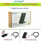 3 Coils Qi Wireless Fast Charger Charging Pad For iPhone Samsung HTC LG Nokia