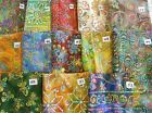 "Unique Embroidered jewel tone Batik fabric 100% cotton 1/2 yd x 44"" wide"