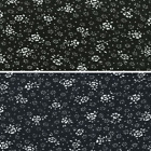 Ditsy Daisy Flowers With Spots Polka Dots 100% Viscose Print Fabric 140cm Wide